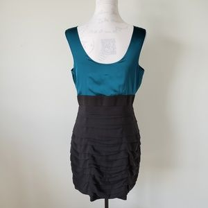 Express Blue and Black Color Block Dress Womens 12